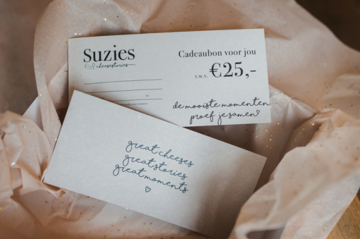 Cadeaubon EUR 25,- van Suzies Cheesestories